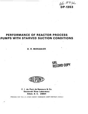 Primary view of object titled 'Performance of reactor process pumps with starved suction conditions'.