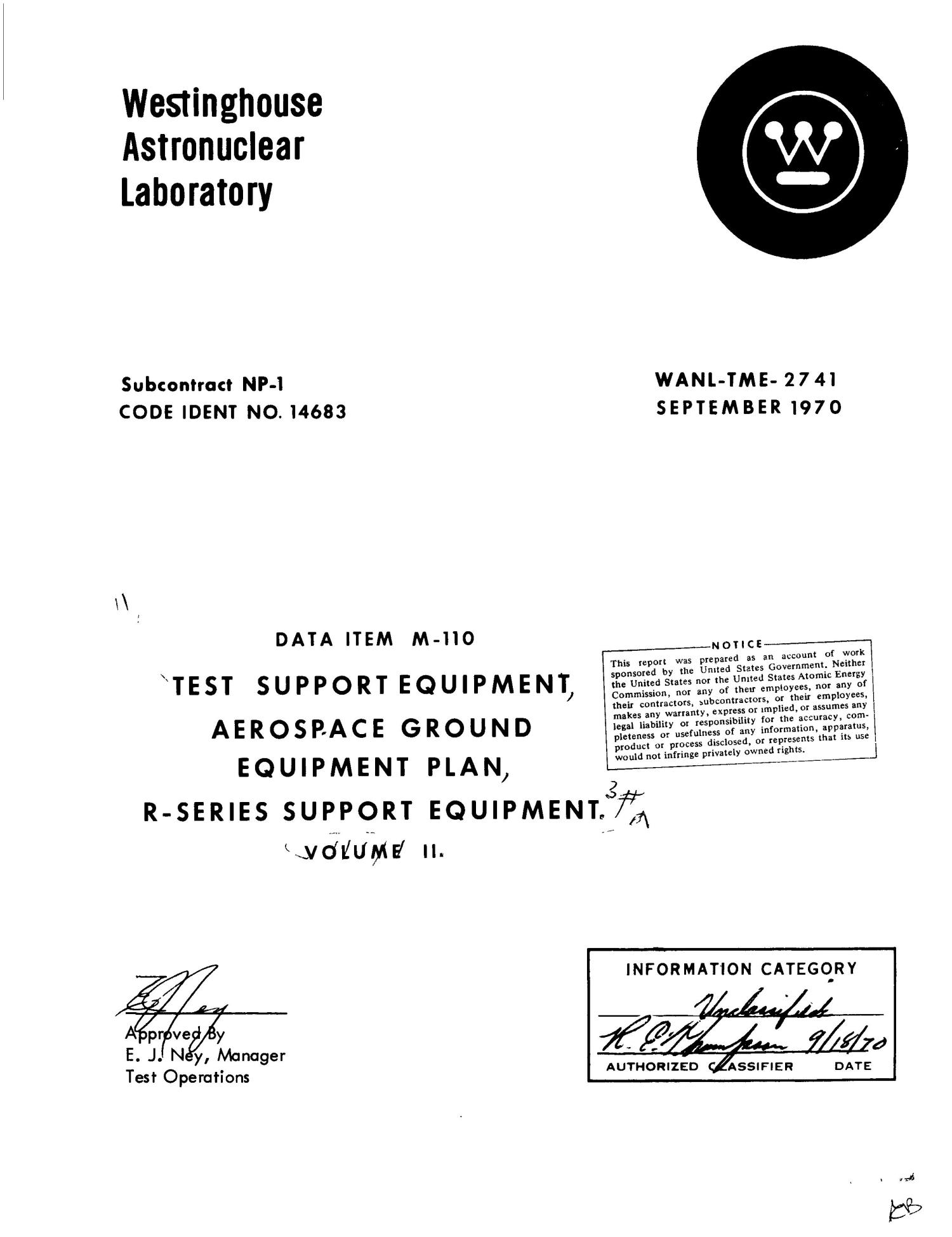 Test support equipment, aerospace ground equipment plan, r-series support equipment. Volume II                                                                                                      [Sequence #]: 4 of 178
