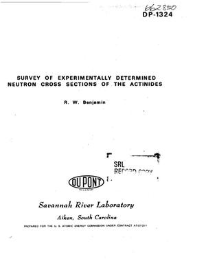 Primary view of object titled 'Survey of experimentally determined neutron cross sections of the actinides'.