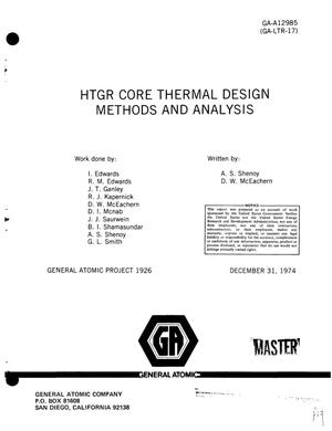 Primary view of object titled 'HTGR core thermal design methods and analysis'.