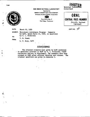 Primary view of object titled 'ANSWERS TO QUESTIONS ON OFF-GAS TREATMENT. Eurochemic Assistance Program: Comments by HAPO, dated March 12, 1959, on Questions by E.L. Nicholson'.