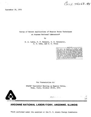 Primary view of object titled 'Survey of recent applications of reactor noise techniques at Argonne National Laboratory'.