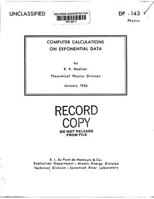 Primary view of object titled 'COMPUTER CALCULATIONS ON EXPONENTIAL DATA'.