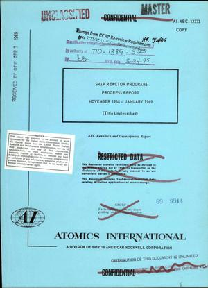 Primary view of object titled 'SNAP reactor programs. Progress report, November 1968--January 1969'.