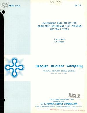 Primary view of object titled 'Experiment data report for semiscale isothermal test program hot-wall tests'.