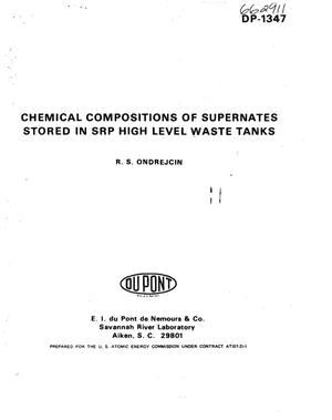 Primary view of object titled 'Chemical compositions of supernates stored in SRP high level waste tanks'.