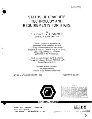 Primary view of object titled 'Status of graphite technology and requirements for HTGRs'.
