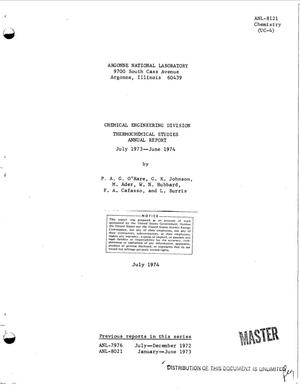 Primary view of object titled 'Chemical Engineering Division, thermochemical studies annual report, July 1973--June 1974'.