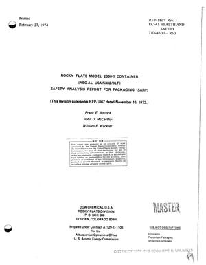 Primary view of object titled 'Rocky Flats model 2030-1 container (AEC--AL USA/5332/BLF) safety analysis report for packaging (SARP)'.