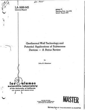 Primary view of object titled 'Geothermal well technology and potential applications of Subterrene devices: a status review'.