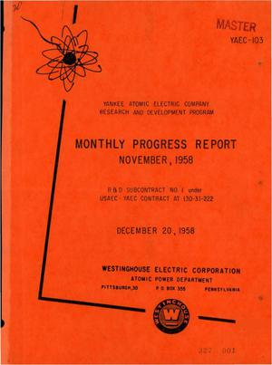 Primary view of object titled 'Monthly Progress Report for the Period November 1 to 30, 1958'.