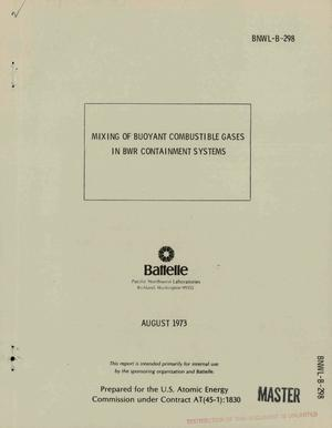Primary view of object titled 'Mixing of bouyant combustible gases in BWR containment systems'.