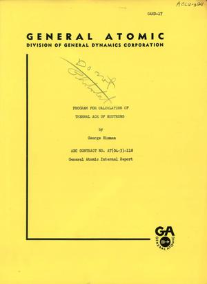 Primary view of object titled 'Program for Calculation of Thermal Age of Neutrons'.
