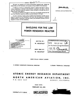 Primary view of object titled 'Shielding for the Low Power Research Reactor'.