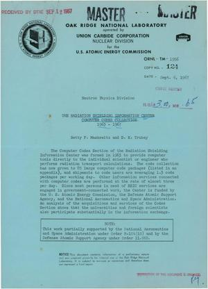 Primary view of object titled 'THE RADIATION SHIELDING INFORMATION CENTER COMPUTER CODES COLLECTION, 1963-- 1967.'.