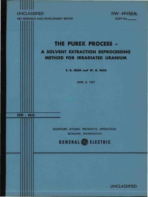Primary view of object titled 'The Purex Process-a Solvent Extraction Reprocessing Method for Irradiated Uranium'.