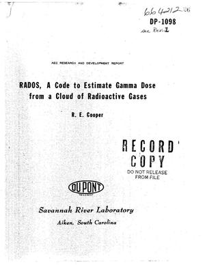 Primary view of object titled 'RADOS: A CODE TO ESTIMATE GAMMA DOSE FROM A CLOUD OF RADIOACTIVE GASES.'.