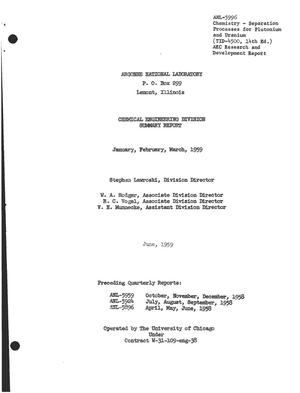 Primary view of object titled 'CHEMICAL ENGINEERING DIVISION SUMMARY REPORT FOR JANUARY, FEBRUARY, MARCH 1959'.
