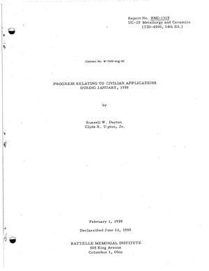 Primary view of PROGRESS RELATING TO CIVILIAN APPLICATIONS DURING JANUARY, 1959