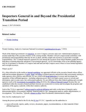 Primary view of object titled 'Inspectors General in and Beyond the Presidential Transition Period'.