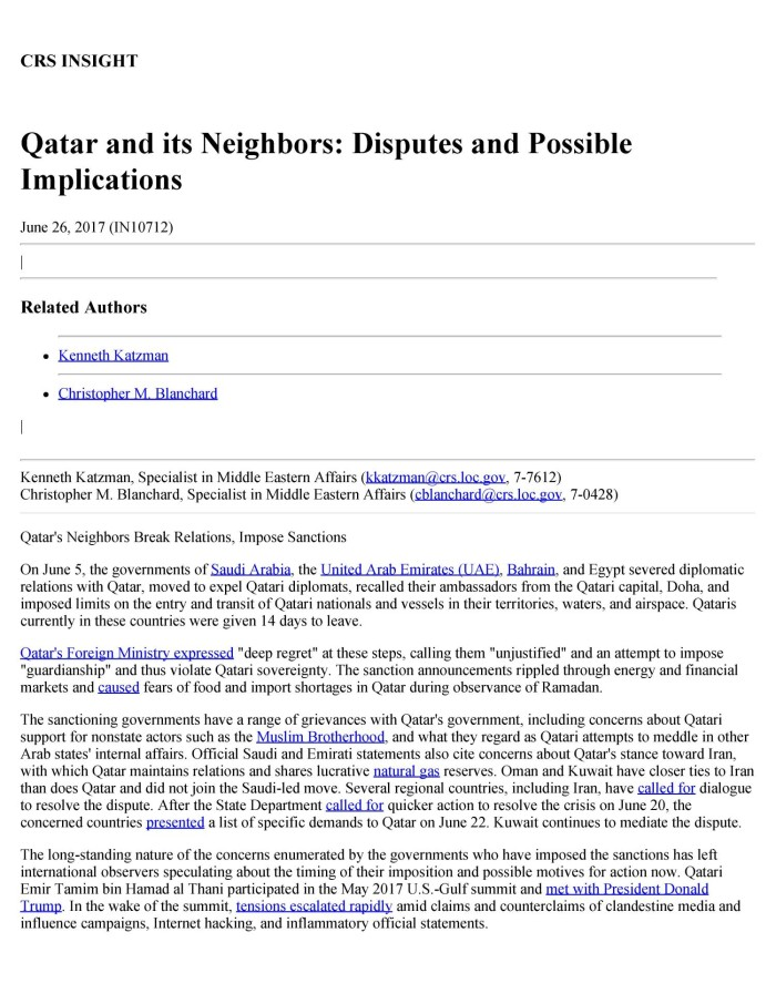 Qatar and its Neighbors: Disputes and Possible Implications