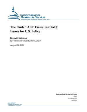 Primary view of object titled 'The United Arab Emirates (UAE): Issues for U.S. Policy'.