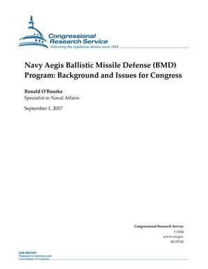 Primary view of object titled 'Navy Aegis Ballistic Missile Defense (BMD) Program: Background and Issues for Congress'.