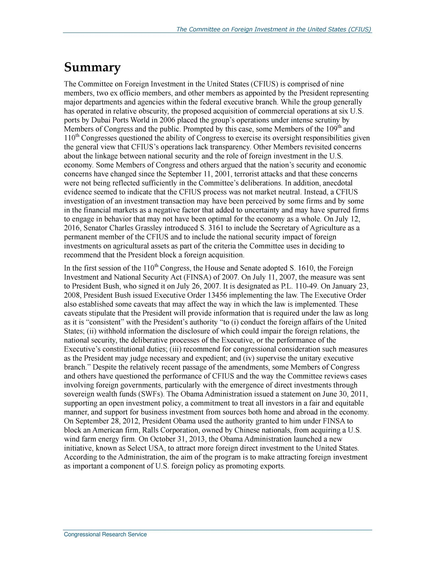 The Committee on Foreign Investment in the United States (CFIUS)                                                                                                      [Sequence #]: 2 of 38