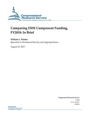Primary view of object titled 'Comparing DHS Component Funding, Fiscal Year 2018: In Brief'.