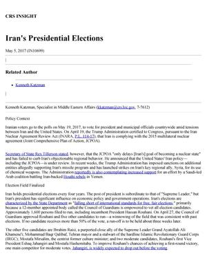 Primary view of object titled 'Iran's Presidential Elections'.