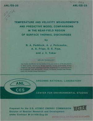 Primary view of object titled 'Temperature and velocity measurements and predictive model comparisons in the near-field region of surface thermal discharges'.