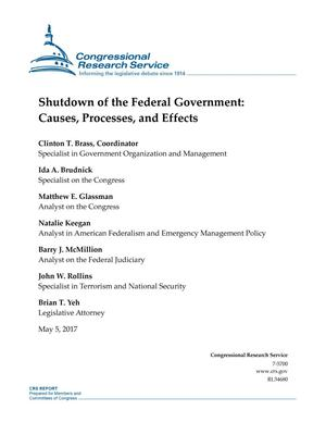 Primary view of object titled 'Shutdown of the Federal Government: Causes, Processes, and Effects'.