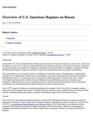 Primary view of object titled 'Overview of U.S. Sanctions Regimes on Russia'.