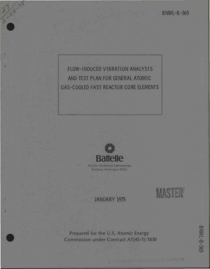 Flow-induced vibration analysis and test plan for General