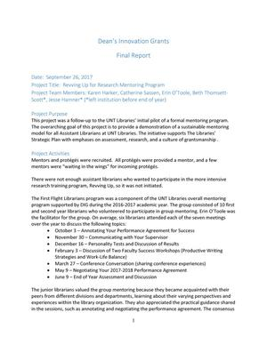 Primary view of object titled 'Revving Up for Research  Mentoring Program: Final Report'.