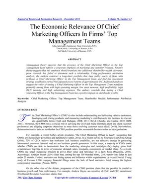 Primary view of object titled 'The Economic Relevance of Chief Marketing Officers in Firms' Top Management Teams'.
