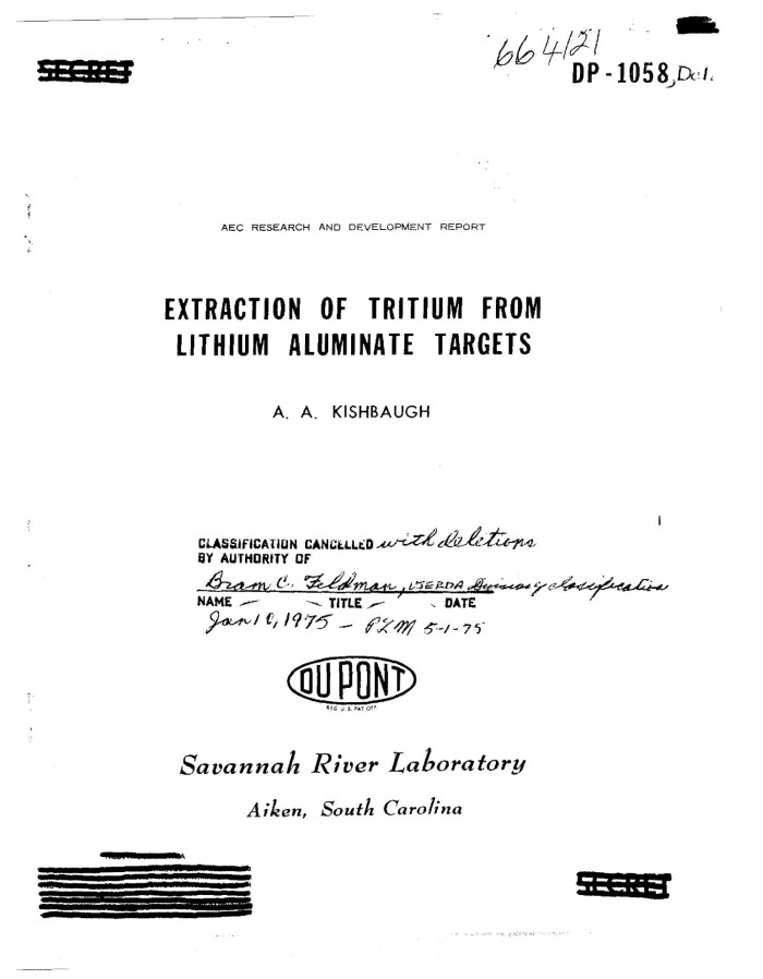 Extraction of tritium from lithium aluminate targets