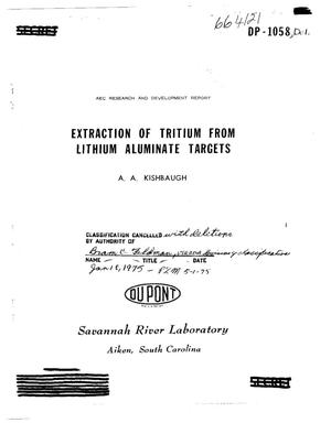 Primary view of object titled 'Extraction of tritium from lithium aluminate targets'.