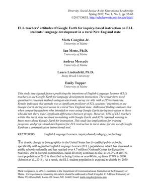 Primary view of object titled 'ELL Teachers' attitudes of Google Earth for inquiry-based instruction on ELL students' language development in a rural New England state'.