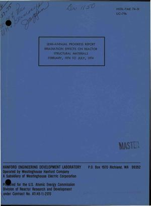 Primary view of object titled 'Irradiation effects on reactor structural materials. Semi-annual progress report, February--July 1974'.