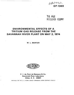 Primary view of object titled 'Environmental effects of a tritium gas release from the Savannah River Plant on May 2, 1974'.