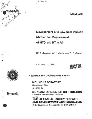 Primary view of object titled 'Development of a low cost versatile method for measurement of HTO and HT in air'.