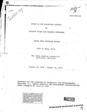 Primary view of Study of the radiation effects on nucleic acids and related compounds. Three year progress report, 15 August 1972--14 August 1975