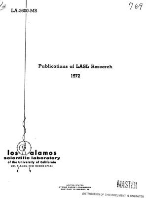 Primary view of object titled 'Publications of LASL research, 1972'.