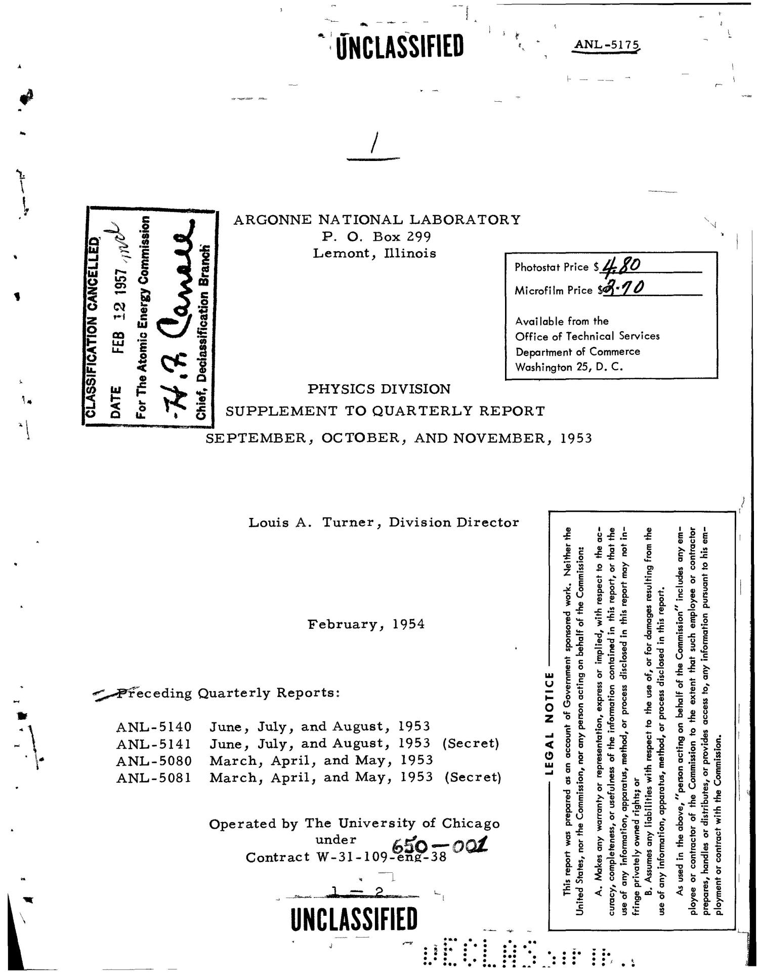 PHYSICS DIVISION SUPPLEMENT TO QUARTERLY REPORT FOR SEPTEMBER, OCTOBER, AND NOVEMBER 1953                                                                                                      [Sequence #]: 1 of 28