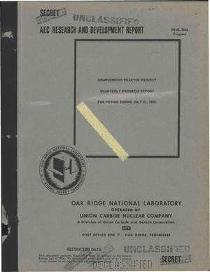 Primary view of object titled 'HOMOGENEOUS REACTOR PROJECT QUARTERLY PROGRESS REPORT FOR PERIOD ENDING JULY 31, 1955'.