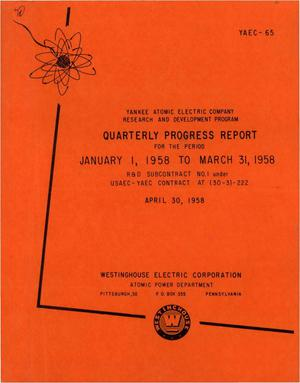 Primary view of object titled 'Quarterly Progress Report for the Period January 1, 1958 to March 31, 1958'.