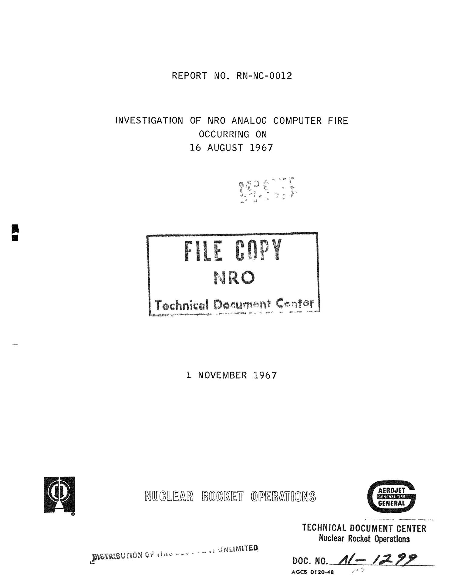 Investigation of NRO analog computer fire occurring on 16 August 1967                                                                                                      [Sequence #]: 1 of 52