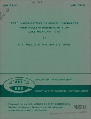 Primary view of object titled 'Field investigations of heated discharges from nuclear power plants on Lake Michigan: 1972'.