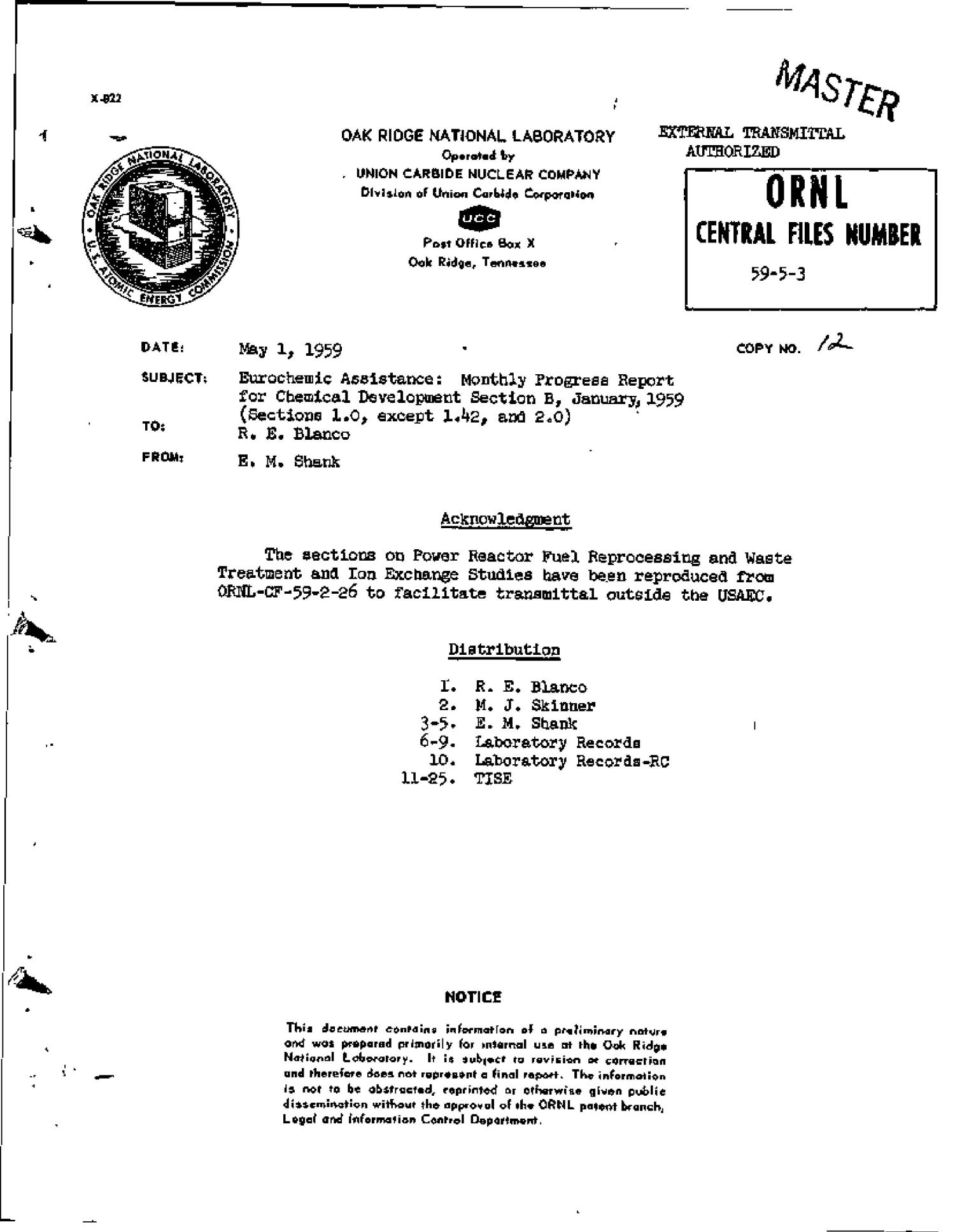 EUROCHEMIC ASSISTANCE: MONTHLY PROGRESS REPORT FOR CHEMICAL DEVELOPMENT SECTION B, JANUARY 1959. (SECTIONS 1.0, EXCEPT 1.42, AND 2.0)                                                                                                      [Sequence #]: 1 of 29